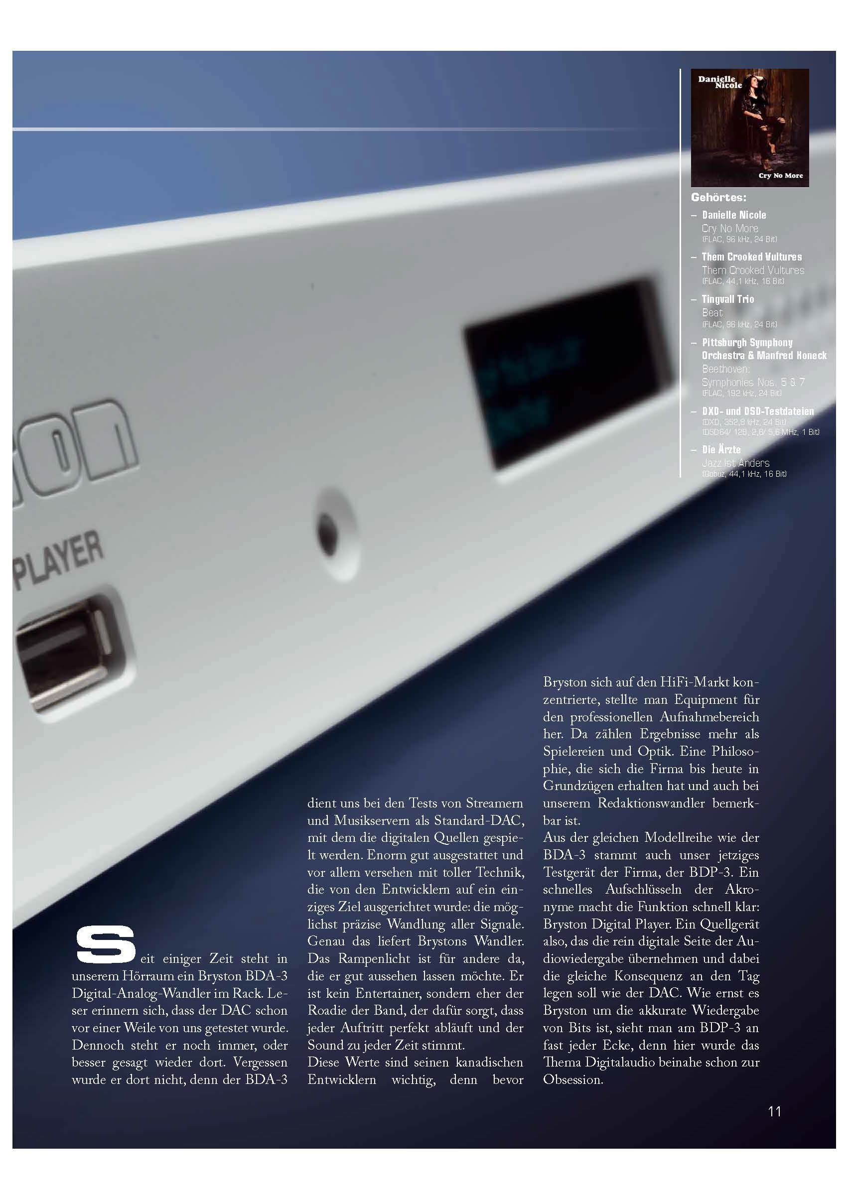 "Bryston BDP-3 Digital Audio Player - great Review in German Magasine ""Einsnull"""